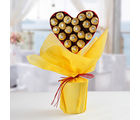 Ferns N Petals Ferrero Rocher Heart Bouquet
