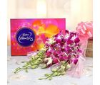 6 Purple Orchids With Cadbury Celebrations
