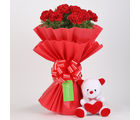 Teddy Bear & 20 Red Carnations Bouquet Combo
