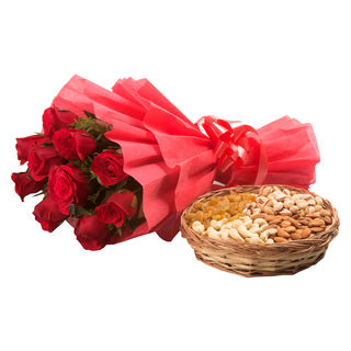 Ferns N Petals Roses With Dryfruits