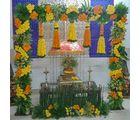 Ferns N Petals Marigold N Leaves Flower Decoration