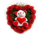 Ferns N Petals Roses N Soft Toy