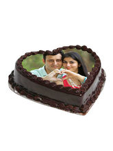 Ferns N Petals Heart Shape Photo Chocolate Cake, egg