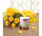 Ferns N Petals Yellow Roses N Rasgulla