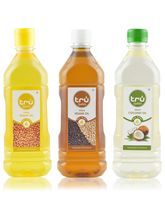Tru Extra Virgin Oil Combo Groundnut - Gingelly - Coconut Each 500ml Pack Of 3 1.5ltr (TRUCOMB)