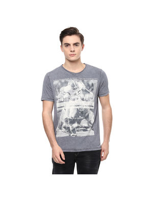 Printed V Neck T-Shirt, 28,  cement