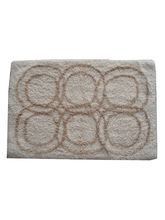 Decordlite Circle Pattern Ivory Linen Bath Mat (2008Decor_ Bm), small