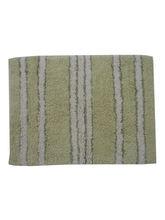 Decordlite Stripes Pattern Thyme Ivory Bath Mat (2014Decor_ Bm), small