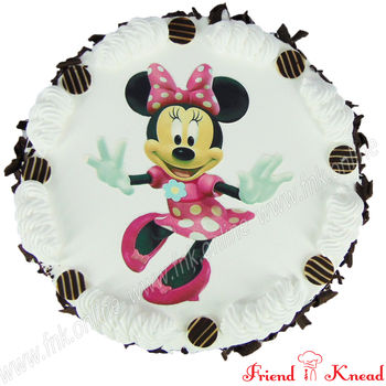 Hello Minnie Photo Cake, white forest, 10 am - 11 am, 1 kg