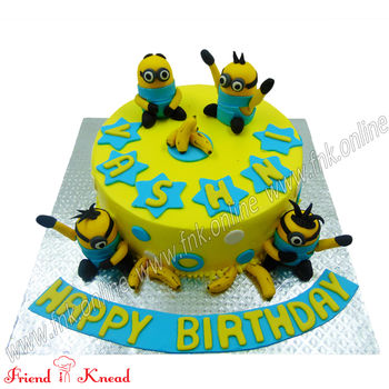 Minion Theme Cake, select time, eggless, 1.5 kg