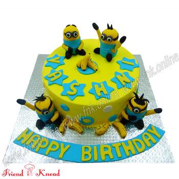 Minion Theme Cake, 1.5 kg, egg