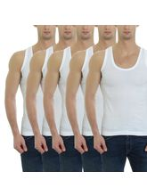 Gbros Classic Mens Vest Pack of 5 (GBCVP5), 100, white
