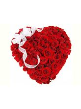 India Gifts Hub Red Roses Heart Arrangement 50 Flowers (IGHFLOW012)