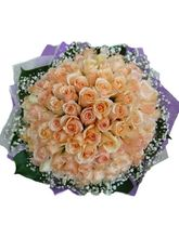India Gifts Hub Peach Roses Bouquet 100 Flowers (IGHFLOW076)