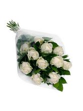 India Gifts Hub White Roses Bouquet 12 Flowers (IGHFLOW054)