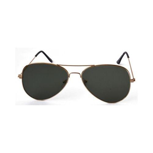 Golden Frame Black Flat Glass Aviator Sunglass