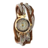 Brown Crystal Shimmer Modest Analog Watch - For Women