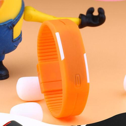 Orange PlasticDigitalRectangularBraceletBandLEDWatchForBoys, Men, Girl, Women