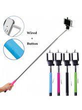 Fleejost Extendable Wired Selfie Stick Adjustable Holder for iPhone & Android Devices| Handheld & Portable for Perfect Shots
