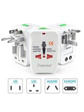 Fleejost International All in One Universal World Wide Travel Plug Adapter with Surge Protector - Supports more then 150 countries (White)