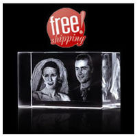 Customized Couple Photo engraved 3D Crystal Cube
