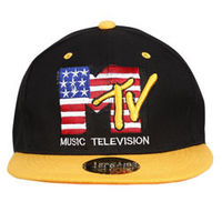 Capskart Snapback Fashion Cap with MTV Embroidery Black Yellow