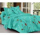 Homeland@Dreamsunlimited Cotton Floral Double Bedsheet (Ael_ Lilly_ Flower), green