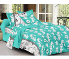 Homeland@Dreamsunlimited Cotton Floral Double Bedsheet (Ael_ Santino), green