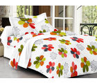 Homeland@Dreamsunlimited Cotton Floral Double Bedsheet (Ael_ Dream_ Flower), white