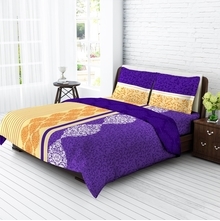 Tangerine Fete Basics Cotton King Bedsheet With 2 Pillow Covers - Purple & Yellow