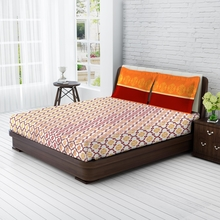 Tangerine Tangy Orange Cotton Double Bedsheet With 2 Pillow Covers - Multicolor