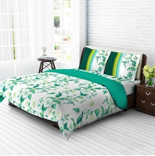 Tangerine Tangy Gold Cotton King Xl Bedsheet With 2 Pillow Covers - Green