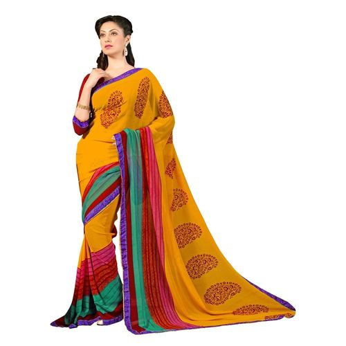 7 Colors Lifestyle Faux Georgette Printed Saree - ABBSR552BSUHM