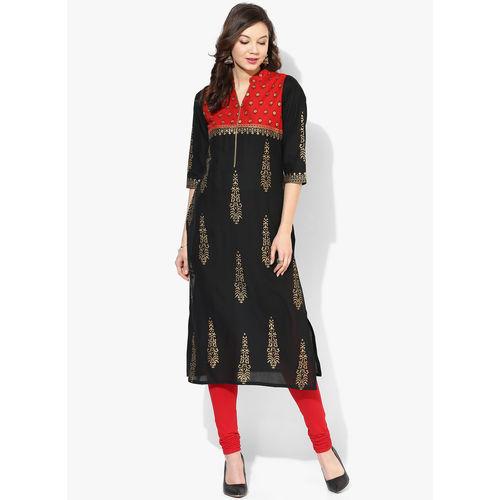 Riya Printed Kurta,  black, l