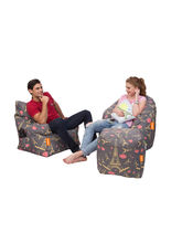 Orka Digital Printed Set of 3, Big Boss Chair, Arm Chair & Puffy Cover Only, cover only