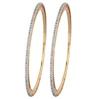 Face Cut Diamond Bangle Set Of 2- RBA001, si-jk, 18 kt