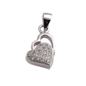 Glittering Double Heart CZ Sterling Silver Pendant-PDMX006
