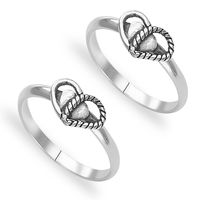 Magnetic Heart Design Sterling Silver Toe Ring-TR426