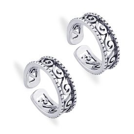 Enthralling Cutwork 925 Sterling Silver Toe Ring-TR411