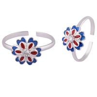 Double Bloom Silver Toe Rings-TRMX101