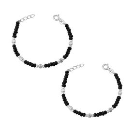 Nazariya With Silver & Black Beads Kids Sterling Silver Bracelet-BRNZ006