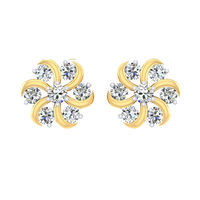 Diamond Daisy Floret Stud Earrings-RS00111, 18 kt, si-jk