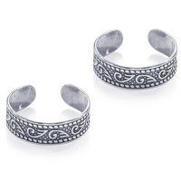 Oxidise Cutwork Silver Toe Ring-TR455