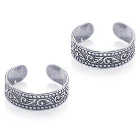 Pleasant Oxidise Cutwork Sterling Silver Toe Ring-TR455