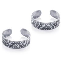 Oxidise Cutwork Silver Toe Ring-TR455