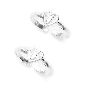 Delicate Heart Pattern Silver Toe Ring-TR243
