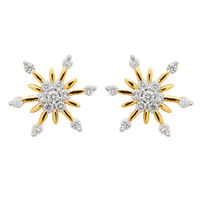 Flower Pattern Earrings - BAPS231ER, si - ijk, 18 kt