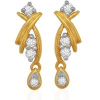 Diamond Drop Ear Cuffs- BAER0782, si - ijk, 18 kt