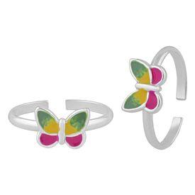 Pretty Enamel Butterfly Sterling Silver Ring-TR391