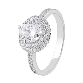 Majestic White Zircon Sterling Silver Finger Ring-FRL129